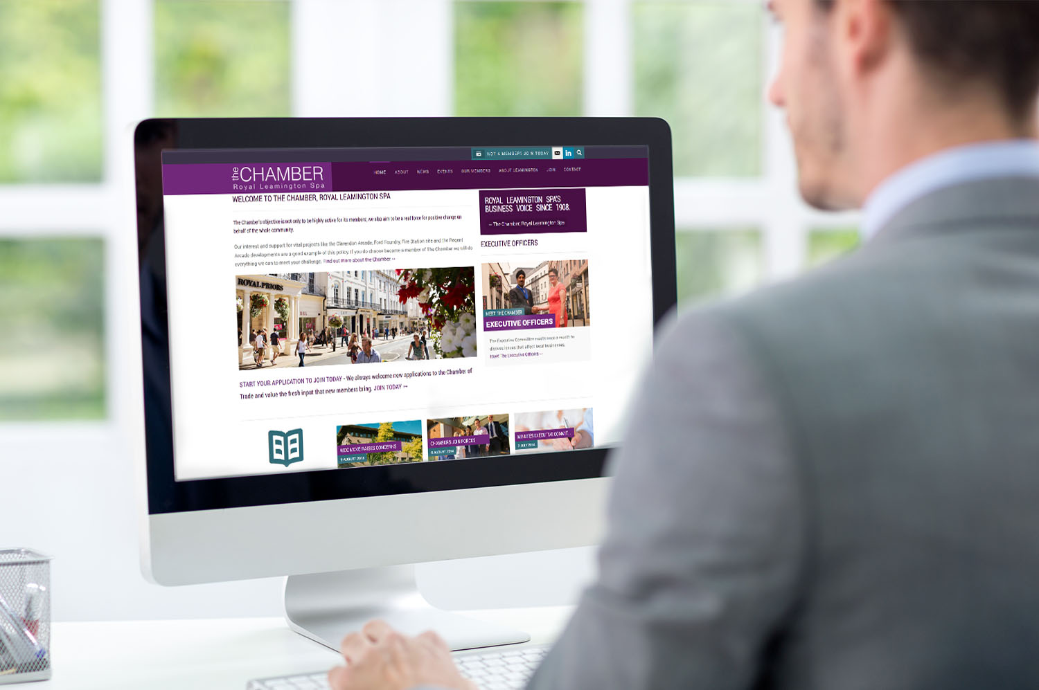 Leamington Chamber Website Design - Home Screen